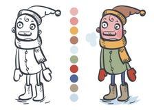 De kleine jongen is warm gekleed Illustratie, beeldverhaal, kleurend boek Royalty-vrije Stock Foto's