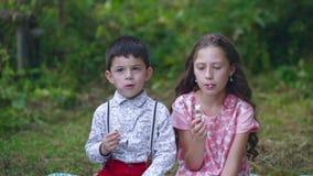 De kleine kinderen eten snoepjes in de tuin stock video