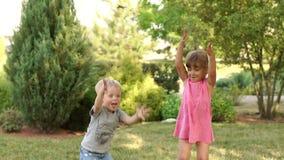 De kleine kinderen spelen in het Park in de zomer stock video
