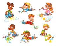 De kleine kinderen trekken beeldenpotloden en verven royalty-vrije illustratie