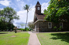 De kleine lavakerk viert Pasen, Makena, Maui, Hawaï stock afbeeldingen