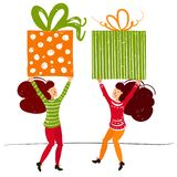 De kleine mensenkarakters brengen Kerstmisdoos De Decoratie van het nieuwjaar Fantasie kleine mensen die in reuzewereld vlak werk royalty-vrije illustratie
