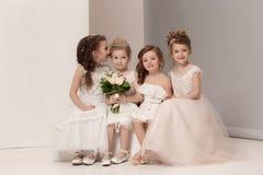 De kleine mooie meisjes met bloemen kleedden zich in huwelijkskleding Stock Fotografie