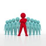 De kleine persoon de leider van een team wees met rode kleur toe het 3d teruggeven Geïsoleerde witte achtergrond Vector Illustratie