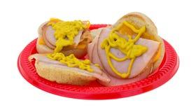De kleine sandwiches van Turkije met mosterd Royalty-vrije Stock Foto