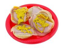 De kleine sandwiches van Turkije met mosterd Royalty-vrije Stock Afbeelding