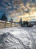 De kleine stad in Rusland stock afbeelding