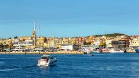 De kleine stad van Nice in Spanje Palamos, 14 Juli, 2017 Spanje Stock Foto