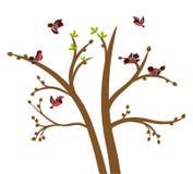De kleine vogels tjilpen op de lenteboom vector illustratie