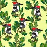 De kleine vogels zingen liederen. Naadloze textuur. Stock Afbeeldingen