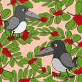 De kleine vogels zingen liederen. Naadloze textuur. Stock Foto's