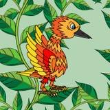 De kleine vogels zingen liederen. Naadloze textuur. Stock Foto