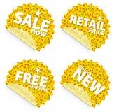 De kleinhandelsstickers van de zonnebloem Stock Fotografie