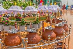De kleipotten van de Sagaingsheuvel Stock Foto's