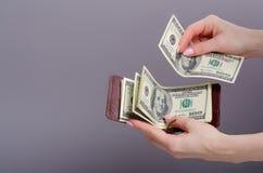De klem van het beursgeld met in hand dollars royalty-vrije stock foto's