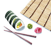 De klemkunst van waterverfsushi, sushi dienende illustratie voor menu, Royalty-vrije Stock Fotografie