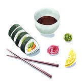 De klemkunst van waterverfsushi, sushi dienende illustratie voor menu, Stock Foto's