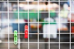 De klemmen hangen op draden bij markt in de ochtend Royalty-vrije Stock Fotografie