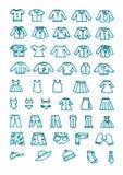 De kleren overhandigen getrokken geplaatste pictogrammen Stock Afbeeldingen