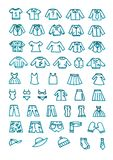 De kleren overhandigen getrokken geplaatste pictogrammen Royalty-vrije Stock Afbeeldingen