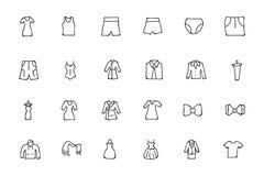 De kleren overhandigen Getrokken Krabbelpictogrammen 3 royalty-vrije illustratie