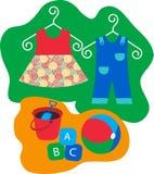 De kleren van de baby en babyspeelgoed vector illustratie