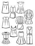 De kleren van de contourenschool voor meisjes Stock Afbeelding