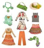 de kleren van de inzamelingszomer royalty-vrije stock afbeeldingen