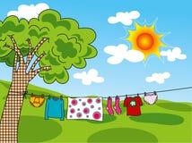 De kleren van de zomer in de zon Royalty-vrije Stock Afbeeldingen