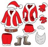 De klereninzameling van de Clausules van de kerstman royalty-vrije illustratie
