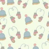 De klerenpatroon van de Semlesshand getrokken winter reeks Stock Afbeeldingen
