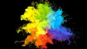 De kleur barstte de iriserende multicolored deeltjes van de de explosie vloeibare inkt van het regenboogpoeder vector illustratie