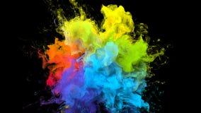 De kleur barstte de iriserende multicolored deeltjes van de de explosie vloeibare inkt van het regenboogpoeder royalty-vrije illustratie