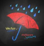 De kleur chalked paraplu vector illustratie