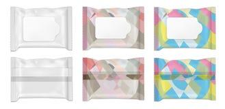De kleur en witte nat vegen pakket met klep af royalty-vrije illustratie