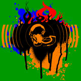 De Kleur Graffiti van hoofdtelefoons. Stock Foto's