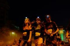 De Kleur van Boekarest stelt Nacht in werking Stock Afbeelding