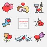 De kleur van de de illustratiesset2 lijn van valentijnskaartenpictogrammen Stock Afbeeldingen