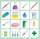 De kleur van de gezondheidszorg iconset Stock Afbeeldingen