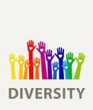 De kleur van de handendiversiteit Stock Afbeelding