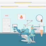 De kleur van het tandartsbureau detailleerde banner voor Web en mobiel ontwerp Stock Afbeelding