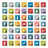 De kleur van voedselpictogrammen Vector illustratie Royalty-vrije Stock Foto
