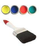 De kleuren en de borstel van de verf stock fotografie