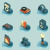 De kleuren isometrische pictogrammen van DJ Royalty-vrije Stock Afbeeldingen