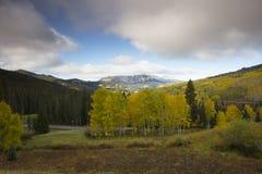 De kleuren van de dalingsherfst met wolken hierboven in Kebler-Pas, dichtbij Kuifbutte, Colorado Amerika in Autumn Fall stock foto