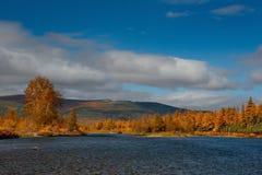 De kleuren van de herfst zijn koud-waterrivieren van Magadan royalty-vrije stock afbeeldingen
