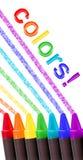 De kleuren van het kleurpotlood over wit Stock Fotografie