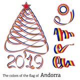De kleuren van de lintkerstboom van Andorra vector illustratie