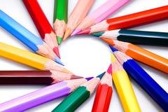 De kleuren van pennen Stock Fotografie