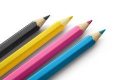 De kleuren van potloden cmyk Stock Foto's